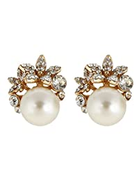 Ever Faith Bridal Silver-Tone Flower Simulated Pearl Stud Earrings Austrian Crystal Clear