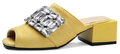 Bout Talons Aisun Ouvert Femme Jaune Mode Classique Strass Chunky Mules wXtXP