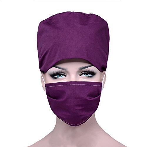 Opromo Adjsuatble Tie Back Scrub Cap Scrub Hat with Sweatband and Cotton -