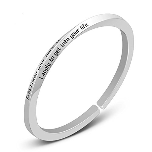 - Mobius Band Cuff Bracelet Personalized Name White Gold 925 Stering Silver (Two Side)