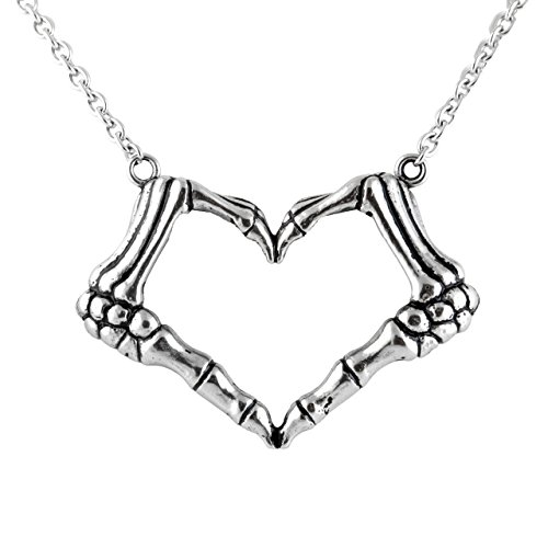 Controse Skeleton Bone Hand Necklace Love Sign Pendant