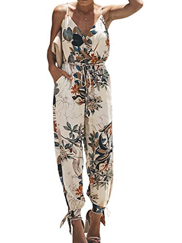 (Longwu Women's Casual V-Neck Drawstring Side Slit Overall Jumpsuit Bandage Rompers with Pockets)