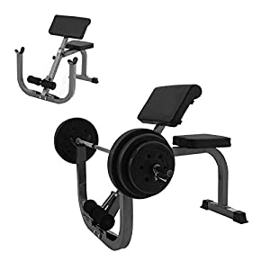 [US stock] Roman Chair Weight Bench Arm Curl Weight Bench Preacher Curl Isolated Barbell Dumbbell Biceps Station Roman Chair,Maximum load capacity of 330 pounds
