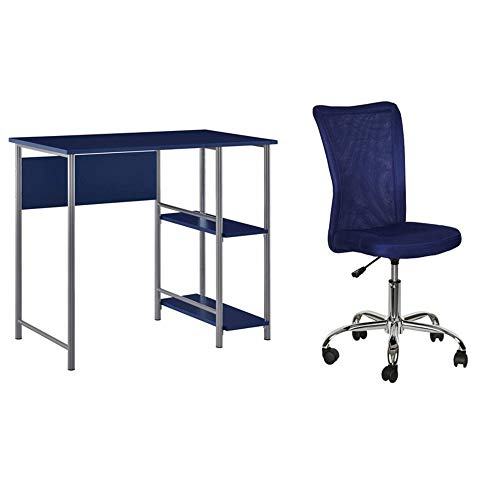 Ameriwood Home Garrett Metal Office Desk with 2 Side Shelves in Navy Bundle with Mainstays Adjustable Mesh Desk Chair in Blue ()