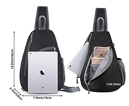 Y&R Direct Sling Bag Nylon Shoulder Backpack Large Lightweight Waterproof Travel Casual Anti Theft Unisex Crossbody Cross Body Chest Bags Pack for Man Woman Hiking Camping Traveling,Black