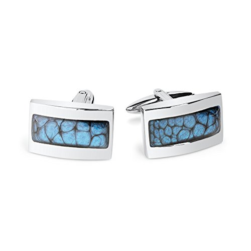 - Stylish Men Shirt Blue Cuff links Husband Gift for Father's Day by Dragon Porter