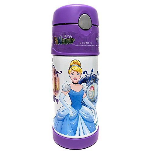 Thermos FUNtainer Disney Princess Bottle With Straw, Keeps Contents Cold For Up To 12 Hours, Durable Stainless-steel Interior And Exterior, Double Wall Vacuum Insulation, 12 Ounces, Purple