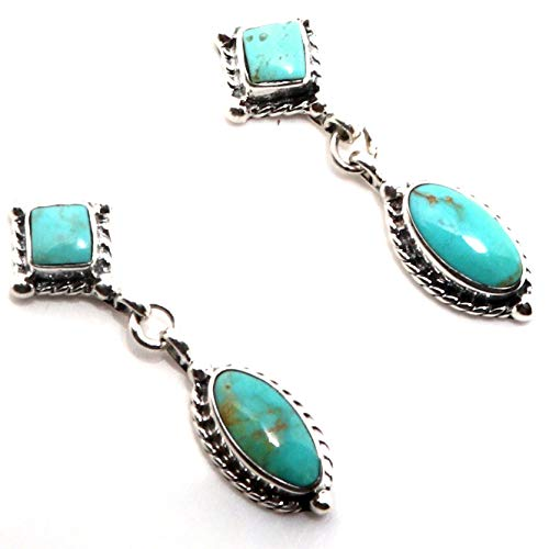 Navajo Sterling Silver & Green Turquoise Dangle Earrings | 1 1/4