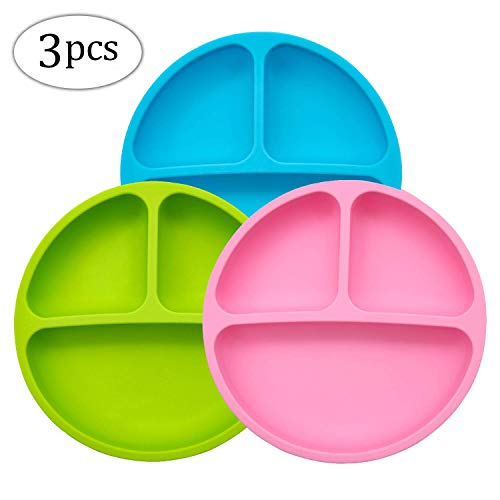 Silicone Plates - MMTX Silicone Divided Toddler Plate - 3pcs Cute Nonslip Plates Dishes Bowles for Babies Toddlers Kids Safe Use in Dishwasher Microwave and Oven