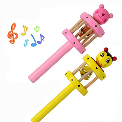 Gbell Educational Toys For 1-3 Year Olds Cartoon Animal Wooden Handbell Musical Developmental Instrument for Toddler Infant (Monkey Play System Package)