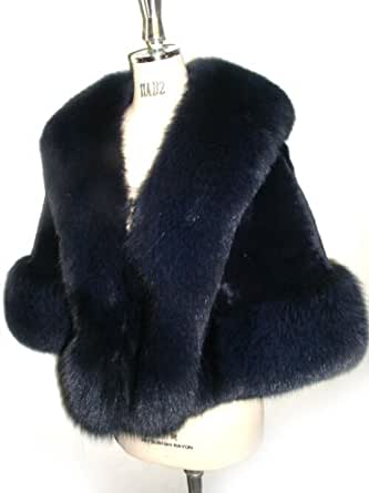 Black Fox Clutch Cape w/ 5 1/2 In. Fox Border & Collar - Medium/Large Size