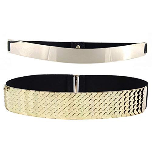 (VOCHIC Womens Metal Mirror Elastic Stretch Gold Waist Belt Metallic Waistband Plate Wide Belts)