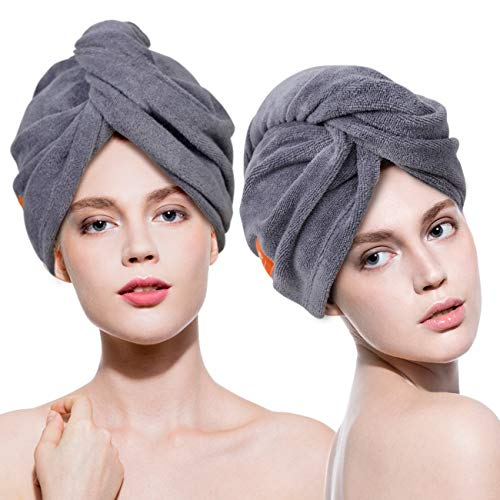 Microfiber Hair Towel Wrap 3 Pack Quick Drying Towels Hair Drying Turban Towel with Button Absorbent Cap for Long & Curly Hair Anti-Frizz (Grey+White+Purple)