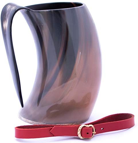 Mythrojan Viking Horn Mug Tankard with Red Leather Strap Safely Holds Hot and Cold Liquids Coffee Hot Chocolate - Wine Beer Mead - 1400 ML