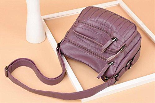 Zip Cuir Main à Femmes PU Diagonal à Souple en Unique bandoulière Sac Sac Cross SHOUTIBAO Compartiment Shopping Mode Travail Package purple Multi wqHtxFw