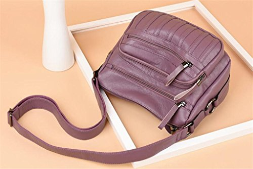 Multi tracolla scompartimento morbida zip pelle Singolo tracolla a Shopping Borsa PU NVBAO a black moda purple Borsa donna in diagonale Borsa e THqOaIx