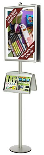 24x36 Poster Stand, Quick Snap Open, Double Sided Brochure Holder Display (Silver Aluminum) by Displays2go