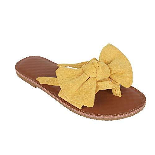 FISACE Womens Summer Bow Tie Flip Flops Flat Sandals Anti-Slip Summer Beach Thong Slipper (8 M US, Yellow) (Sexy Sandals Womens)