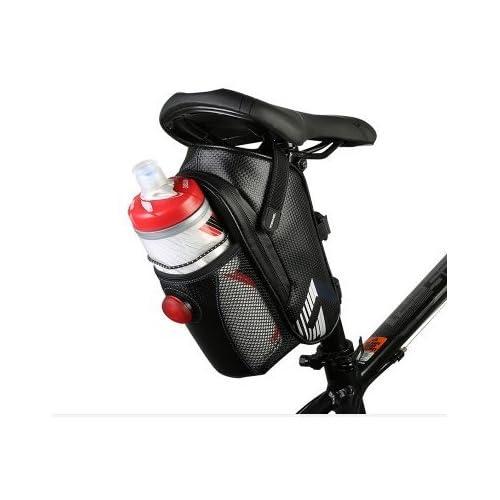 131396 Waterproof Bike Seat Bag Mountain Road MTB Bike Bicycle Bike Cycling Carbon Fiber Saddle Bag with Bicycle Tail light, Bike Water Bottle Repair Tools Pocket Pack R