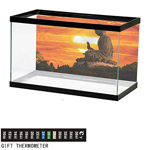bybyhome Fish Tank Backdrop Asian,Eastern Statue Over Sunset,Aquarium Background,36