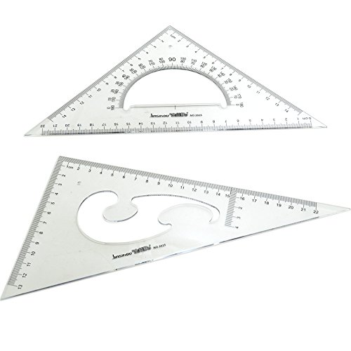 BronaGrand Large Triangle Ruler Square Set, 30/ 60 and 45/ 90 Degrees, Set of (Art Rulers)