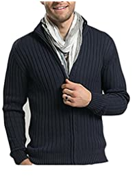 Uni-fashion Men Casual Stand Collar Cable Knitted Zip up Cardigan Sweater