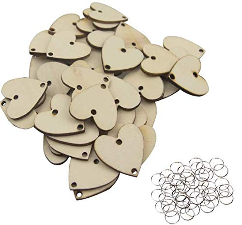 VNDEFUL 50 Pieces 1.25 Inch Heart Shaped Wooden Board Tags with 2 Holes and 50 Pieces Rings for Wedding Crafts Art ()