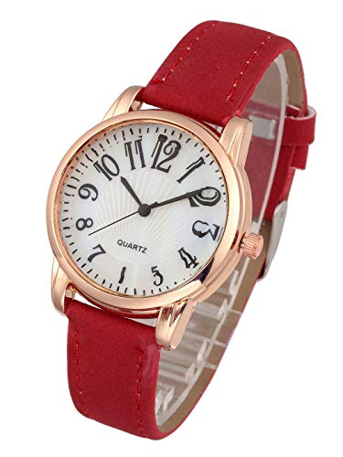 Top Plaza Womens Leather Watch,Fashion Casual Dress Watches,Arabic Numerals Rose Gold Case Analog Quartz Red Ladies Wrist Watch