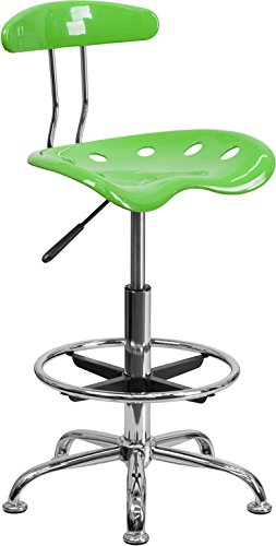 Vibrant Apple Green and Chrome Drafting Stool with Tractor Seat by
