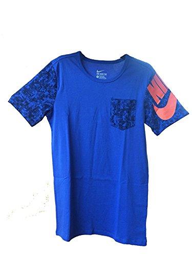 Nike Herren Swoosh Graphic T-Shirt (Blau / Orange / Schwarz) (X-Large)