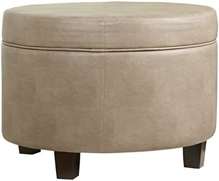 HomePop Round Faux Leather Storage Ottoman – Taupe