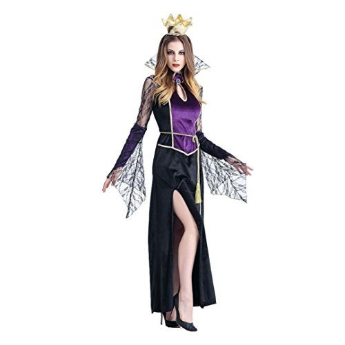 Halloween Women Costume, Vampire Witch Cosplay Party Props Dress + Crown (S)