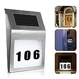 Queta Solar House Number Light, Solar Street Address Led Light Signs for Home or Yard, 2 LED Stainless Steel