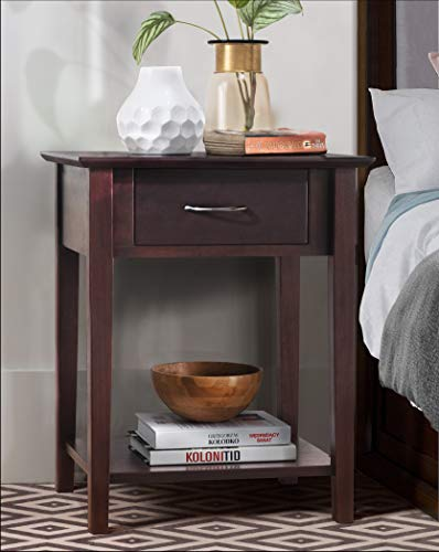2L Lifestyle Holmes Night Stand with Drawer,Brown ()