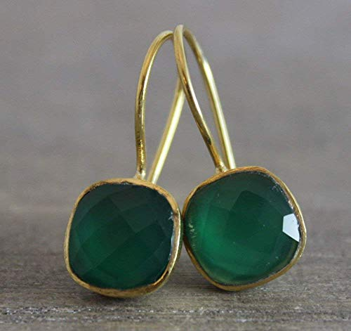 Cushion Cut Green Onyx Gold Plated Sterling Silver Earrings Prime Special Reg. Price 39.99 ()
