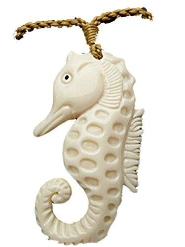 (Carved Bone Hawaiian Seahorse Pendant Necklace)