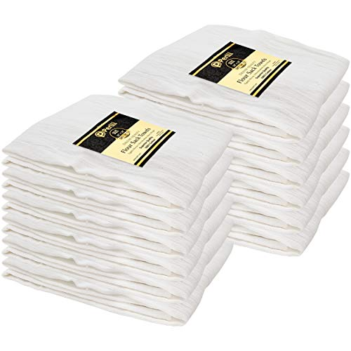 Perlli Flour Sack Towels 12 Pack Bulk 100% Cotton Kitchen White Dish Towels Highly Absorbent Tea Towel Multiple Uses - Embroidery Cloths, Dishtowels, Bread Basket, Hand Towel, Cleaning Kitchen Napkin