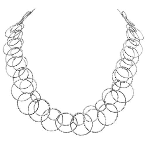 (Gypsy Jewels Thin Circles Lightweight Simple Boutique Necklace - Assorted Colors (Double Ring Silver Tone))