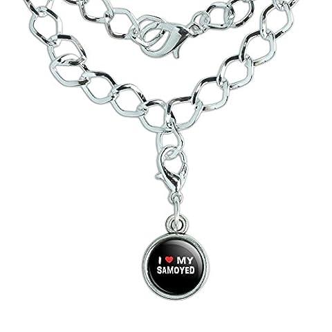 Silver Plated Bracelet with Antiqued Charm I Love My Dog P-S - Samoyed - Samoyed Jewelry