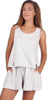 WEWINK CUKOO Women's Cotton Pajama Set Sexy Sleeveless Sleepwear Shorts