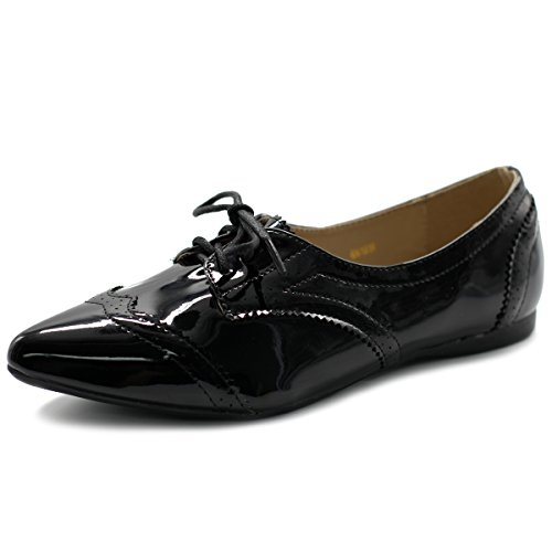 Ollio Women's Ballets Shoes Flats Enamel Pointed Toe Oxford M1818 (10 B(M) US, Enamel)