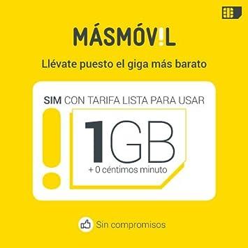 Másmóvil TSMAS4171 - Tarjeta SIM de prepago de 1 GB: Amazon ...