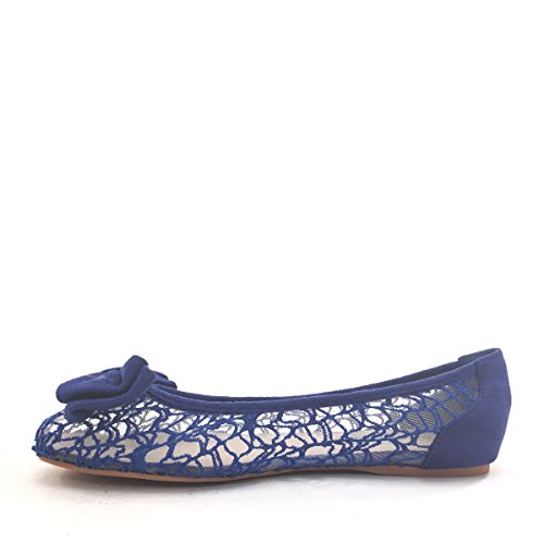 Nouveau Brieten Womens Mignonne Arc Maille Ballet Plat Confort Chaussures Bleu