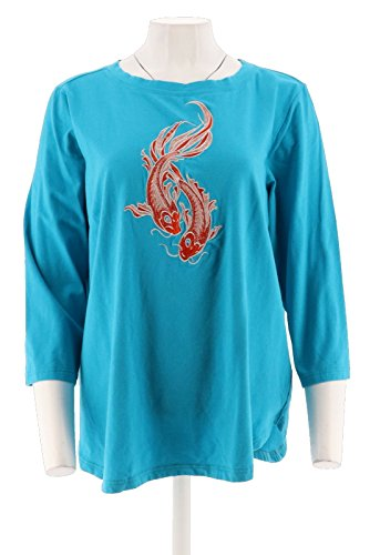 Bob Mackie Embroidered Sequin Animal Knit T-Shirt A302754, Marine Blue, (Bob Mackie Embroidered Blouse)