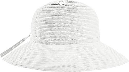 Coolibar UPF 50+ Girl's Tea Party Ribbon Hat - Sun Protective (Large/X-Large- White)