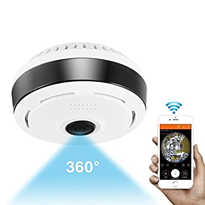 360 Degree Panoramic Camera Wifi Indoor IP Camera Wireless Fisheye Baby Monitor with Night Vision 2-way-audio for Kids & Pets Home Security Camera System with iOS/Android App for Large Area Monitoring