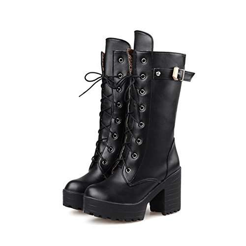 Heels Round PU Low Women's Black High Toe Solid Boots Top AmoonyFashion Closed a750xfqqw