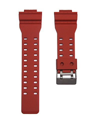 TIMEWHEEL® Replacement RED Watch Band Strap fits Casio G Shock GA-100B-4 series GA-100 GA-110 GA-120 GD-100RF & More