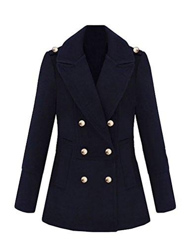 WanYang Moda Damas Chaqueta Abrigos Abrigo de Doble Abotonadura Coat Jacket Negro