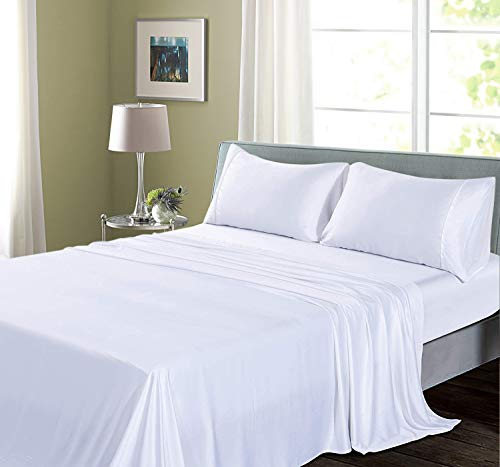 Pure Bamboo Sheet Set--Luxury Soft,Smooth Cooling 4-Piece Sheets for Summer, Rayon from Bamboo Hypoallergenic Bedding, Breathable & Easy Care with 16